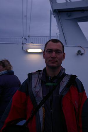 Jörg auf der Fähre nach Island