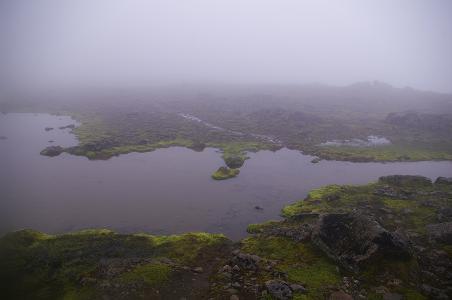 Auf dem Svartasharoð im Nebel