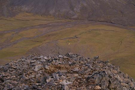 Blick auf Þjófadalir mit Hütte