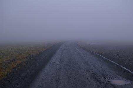 Kjölur im Nebel bei Regen