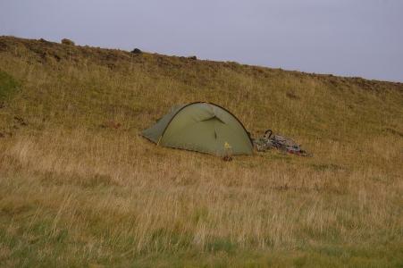Zelten am Flugplatz vor der Mýrdalssandur