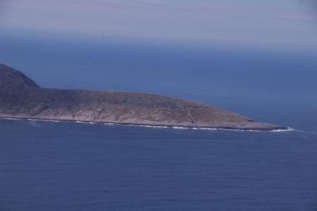 Knivskjellodden vom Nordkap aus gesehen