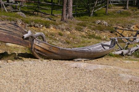 Boot am Museum in Unkonjärvi