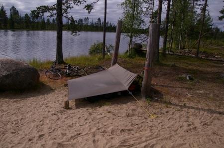 Mein Nachtlager am nächsten Morgen